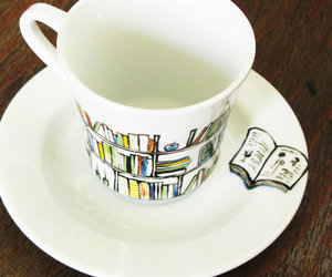 books, cup, and happiness image