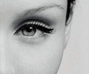eye, girl, and black and white image