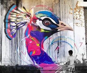 art, colorful, and peacock image