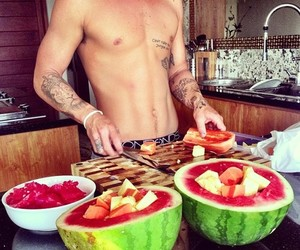 fruit, Tattoos, and watermelon image