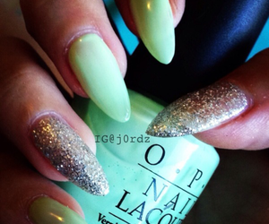 mint, glitter, and nails image