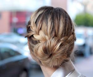 hair, braid, and bun image