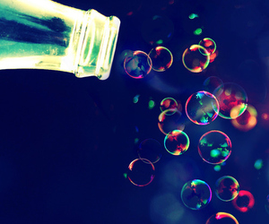 bottle, colors, and bubbles image