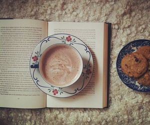 book, coffee, and Cookies image