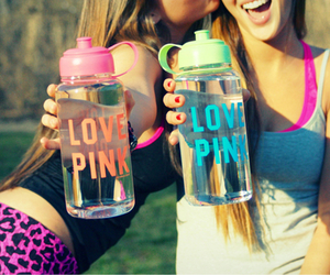 friend, water, and love pink image