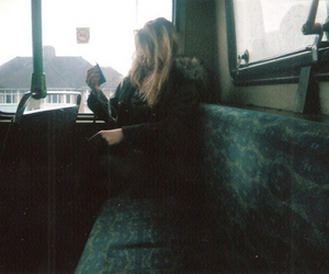 girl, bus, and blonde image
