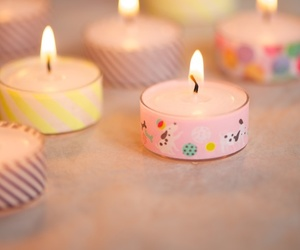 candle, lights, and pink image