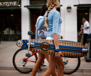 girl, longboard, and skate image
