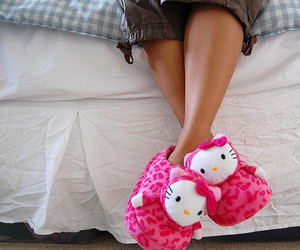 hello kitty, pink, and slippers image