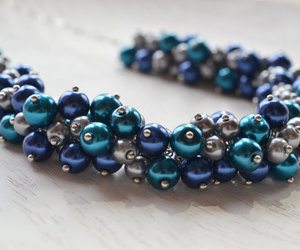 peacock necklace, chunky necklace, and bridesmaid necklace image