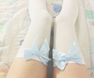 blue, bows, and knee socks image