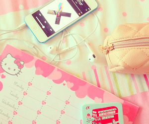 girly, pink, and hello kitty image