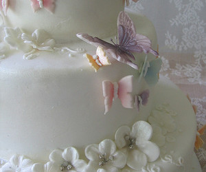 butterfly, cake, and wedding image