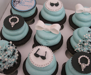 bow, blue, and cupcake image