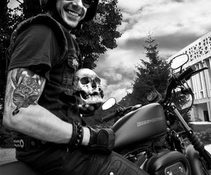 bike, black and white, and Black Metal image