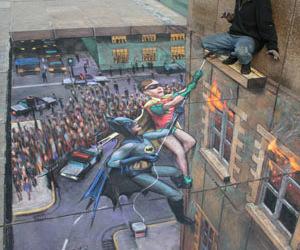 3d, Julian Beever, and Batman and Robin image
