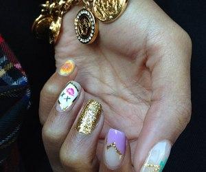 nails, gold, and bracelet image