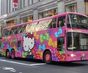 bus, hello kitty, and pink image