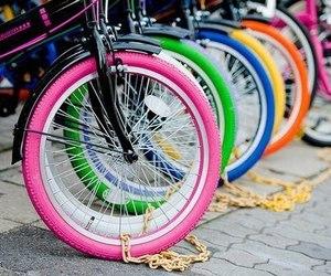 bike, pink, and bunt image