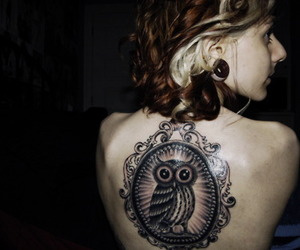 girl, tattoo, and owl image