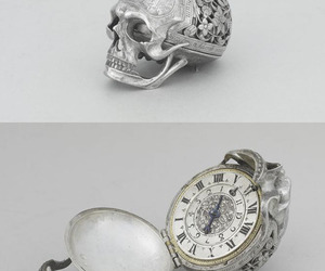 skull, watch, and silver image