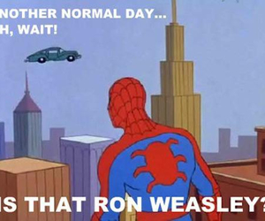 spiderman, ron weasley, and funny image