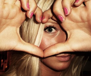 blue eyes, heart, and pink image