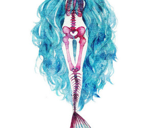 mermaid, blue, and skeleton image