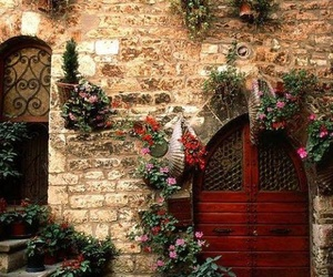 door, italy, and flowers image