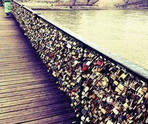 love, paris, and bridge image