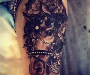 tattoo, horse, and flowers image
