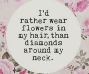 flowers, quote, and diamond image