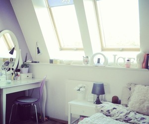 bed, cosy, and dressing table image