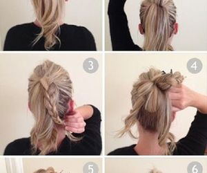 blonde, bun, and fashion hair image