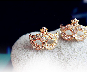 earrings, mask, and gold image
