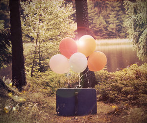 balloons, vintage, and forest image