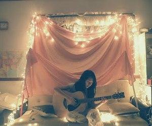 girl, light, and guitar image