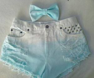 blue, shorts, and bow image