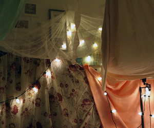 lights, bedroom, and fort image