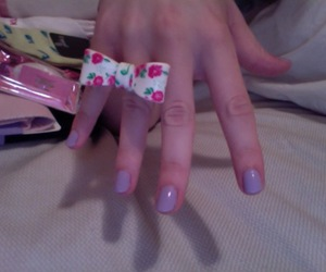 bow, floral, and nails image