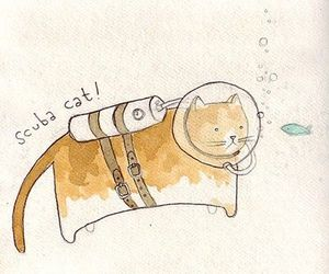 cat, scuba, and art image