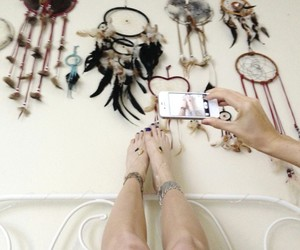 dream catcher, feet, and anklet image