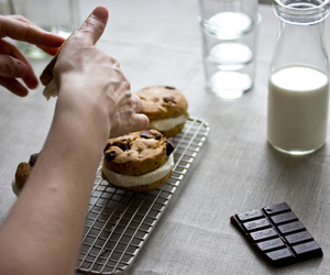 chocolate, Cookies, and milk image