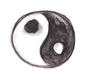 black, black and white, and ying yang image