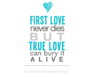 love, first love, and text image