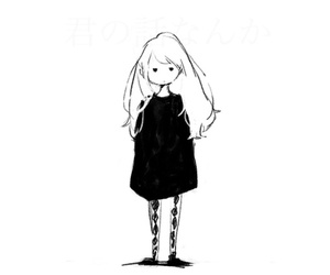 girl, anime, and black and white image