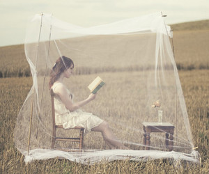 girl, book, and field image