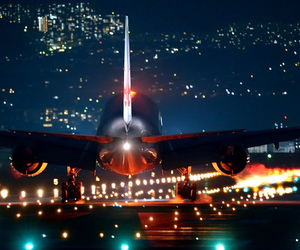 airplane, airport, and lights image