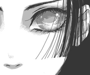 anime girl, black and white, and girl image
