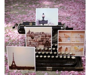 paris, pink, and typewriter image